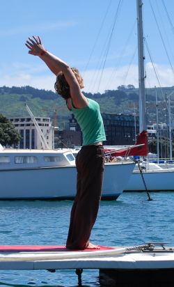 Sun salutations on a dock