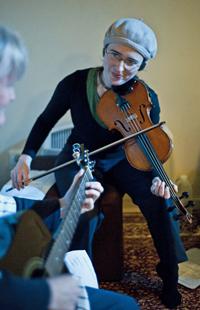 Live music accompanies the vinyasa flow and kirtan