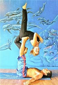 Mary Grace & James Onnikian demonstrating Acro Yoga