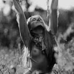 Bra-less hippie girl