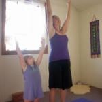 Sara in her yoga room