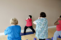 Anna teaches a class of beautiful curvaceous yogis