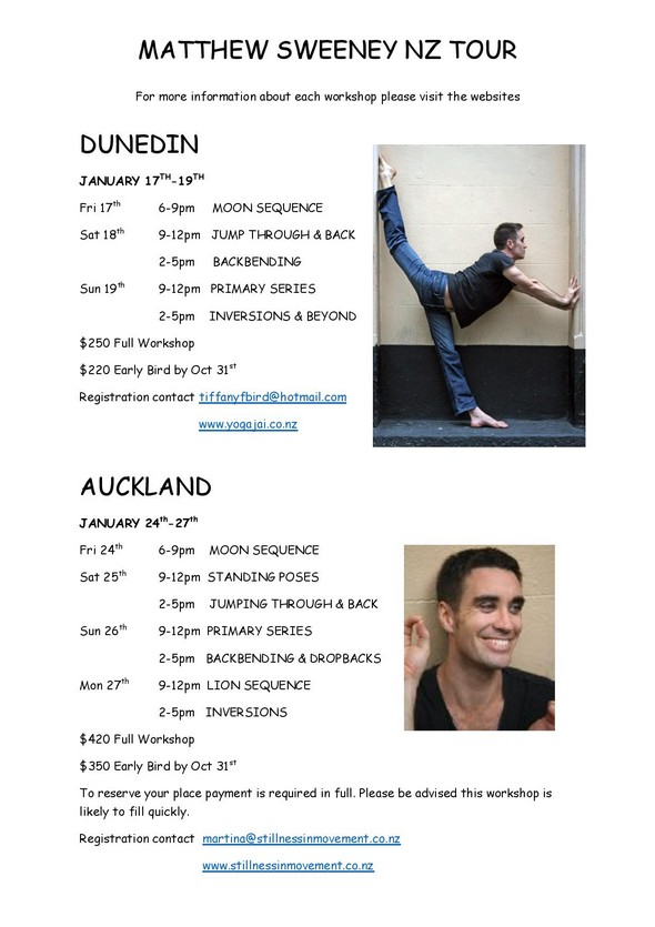 Matthew Sweeney NZ Tour 2014
