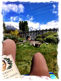 My backyard in Glenorchy, watching Samuel play in the sandpit
