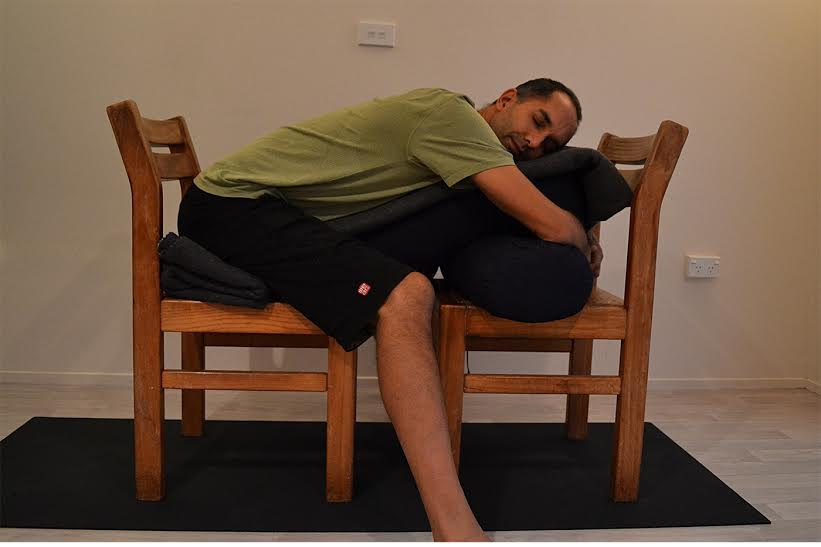 Supported Child's Pose with chair