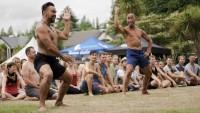 Jase Te Patu and Taane Mete at the Powhiri. Photo Credit Cam Sims