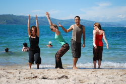 Yogis, beach and laughter