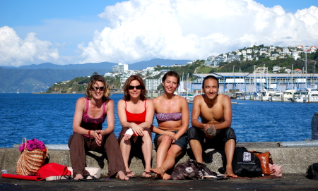 Four happy yogis at the end of a joyous day
