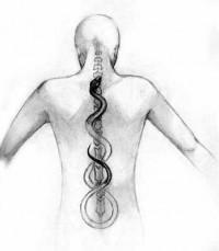 Kundalini, or prana, rising up the spine