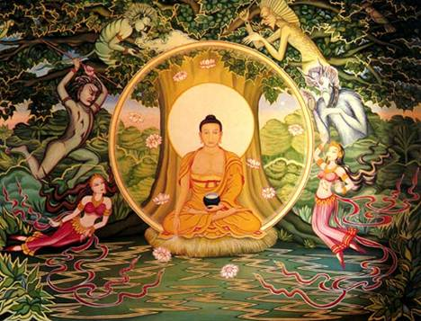 The Buddha turns arrows into flowers