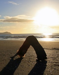Sun salutations at Paekakariki Beach