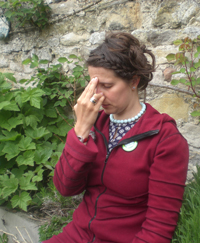 Rachel practicing nadi shoden in the crisp autumn air