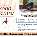 June 2nd & 3rd: Wellington Yoga Centre, Iyengar Yoga Workshop with Louisa Potter