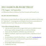 August 27 – September 3: Samoa, Bliss Retreat