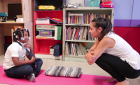 Maya teaching at her Community Yoga Project