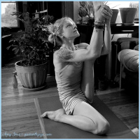 Amy from Quiet Earth Yoga in Heron's Pose.